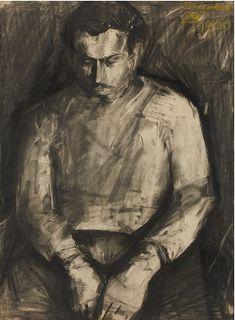 Leon Kossoff - Self Portrait Figure Drawing, Painting & Drawing, Leon Kossoff, Frank Auerbach, Modern Portraits, Paul Cezanne, Chiaroscuro, Portrait Art, Figurative Art