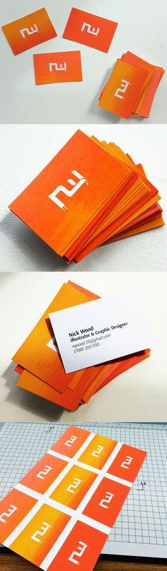 Unique DIY Gradient Colour Screen Printed Business Cards For A Graphic Designer