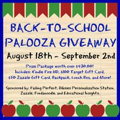 BACK TO SCHOOL PALOOZA GIVEAWAY BEGINS AT NOON TODAY