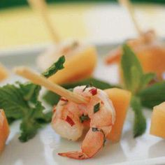 Shrimp, cantelope and mint skewers