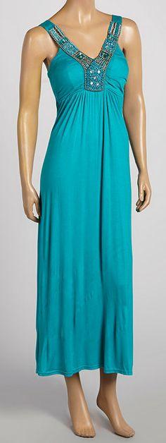 Turquoise Beaded Sleeveless Maxi Dress