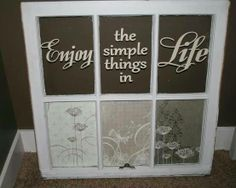 Beautiful re-purposed old window using Uppercase Living vinyl - etched glass on the bottom. Get yours at http://margielewis.uppercaseliving.net