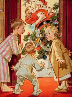 """I saw mommy kissing Santa Claus."" ~Vintage Christmas illustration by Joseph Christian Leyendecker. Vintage Christmas Images, Old Fashioned Christmas, Christmas Past, Retro Christmas, Vintage Holiday, Christmas Pictures, Christmas Greetings, Christmas Morning, Christmas Oranges"