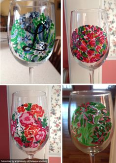 Customized glasses painted by UD Junior, Courtney Reges. For your own personalized creation contact creges@udel.edu