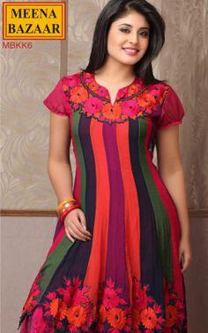 Multi Layered Anarkali Kurti with Embroidery on Georgette fabric