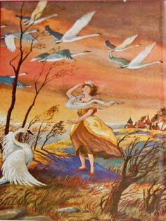 The Wild Swans -- Donald E. Cooke -- Fairytale Illustration