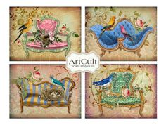 ROYAL BIRDS  4 Great Greeting Cards  Digital Collage by ArtCult,