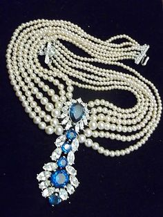 """Vintage Trifari Blue and Clear Rhinestone & Pearl Necklace with Massive 3 1 2"""" Articulated Dangle"""