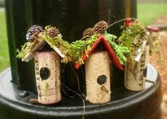 Wine Cork Birdhouse Ornaments by Margaret Wilbur Henkle