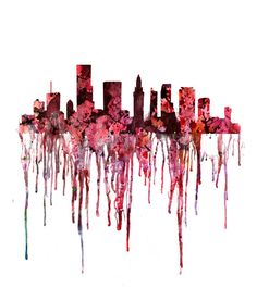 Red watercolor cityscape  watercolor art print  by Thenobleowl, $15.00