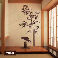 Tree Wall Decal Bamboo Large Tree Sticker Bird Decals Japanese