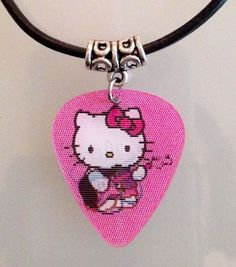 Vintage retro style genuine hot pink rock chick guitar plectrum charm necklace pendant musician music lovers musical instrument gift