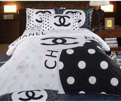 New Symbol Chanel Bedding Set king size Chanel Bedding, Chanel Bedroom, Luxury Bedding, Bedroom Sets, Dream Bedroom, Bedroom Decor, Cama Chanel, Chanel Decoration, Chanel Inspired Room