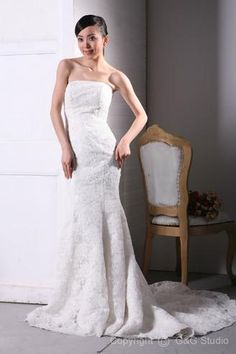 Elegant Sheath Strapless Chapel Train Satin and Lace Wedding Dress