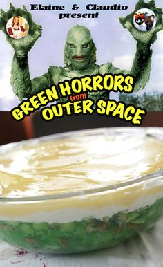 The monster within. Under the layers of cream and whipped cream hides a green slime ready to jump and eat your face.