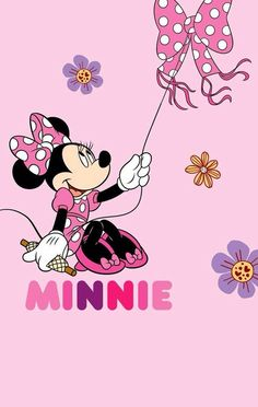 Minnie flying her matching polka-dot kite.
