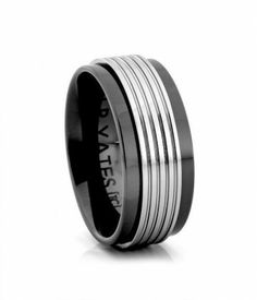 8MM Grooved Tungsten Carbide with Black Ceramic Ring