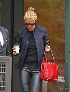 gwyneth paltrow, red bag, black leather skinnies, baseball jacket, navy and black