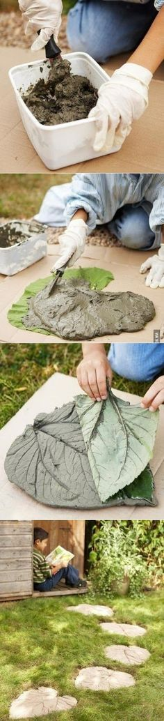 """How To Do: Lay rhubarb leaf down with its vein side facing up. Follow package direction for mixing concrete. Use a trowel or gloved hands to put concrete mix on leaf. Keep concrete about ½"""" from the edge of the leaf. Make sure your concrete is at least 1"""" thick Cut some wire about 2""""…"""