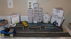 The buildings are card stock. My son loved this cake! By far one of the best i have made. Happy Birthday, Birthday Cake, Son Love, Gotham, Card Stock, Buildings, City, Cards, Happy Brithday