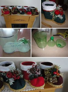 How to DIY Festive Santa Boots Out of Plastic Bottle – Adelaide Crescioni – Thrift Store Crafts Christmas Planters, Diy Christmas Ornaments, Diy Christmas Gifts, Christmas Projects, All Things Christmas, Christmas Wreaths, Christmas Crafts, Felt Christmas, Plastic Bottle Crafts