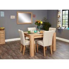 Aston Oak Furniture 4 Seater Dining Table & Cream Chair Set
