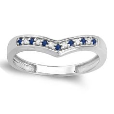 10k Gold 1/6ct Diamond and Blue Sapphire Wedding Stackable Band Anniversary Guard Ring