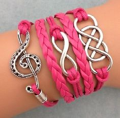 NEW Retro Infinity Music note ring Leather Charm Bracelet plated Silver Rose in Jewelry & Watches, Fashion Jewelry, Bracelets Leather Charm Bracelets, Braided Bracelets, Handmade Bracelets, Silver Bracelets, Handmade Jewelry, Jewelry Bracelets, Jewlery, Jewelry Watches, Music Jewelry