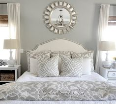 mirror over bed perfect for white bedroom Accent Wall Bedroom, Gray Bedroom, Master Bedroom, Bedroom Decor, Bedroom Ideas, Pretty Bedroom, Silver Bedroom, Bedroom Lamps, Wall Lamps