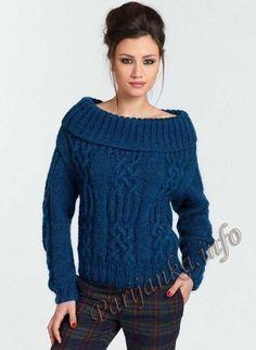 Стильный пуловер с косами спицами. Обсуждение на LiveInternet - Российский Сервис Онлайн-Дневников
