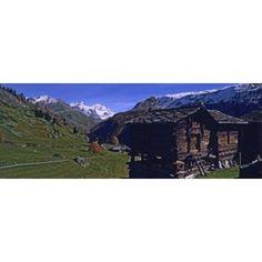 Log cabins on a landscape Matterhorn Valais Switzerland Canvas Art - Panoramic Images (36 x 13)