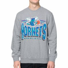 NBA Mitchell and Ness Charlotte  Hornets grey crew neck sweatshirt  a99317481a9