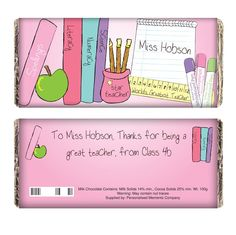 Personalised Teacher's Apple Chocolate Bar :: A fabulous personalised gift for your teacher :: In Stock Now. Thanks Teacher, Teacher Thank You, Personalized Chocolate, Personalised Gifts For Him, Teacher Books, Teacher Gifts, Sweet Wrappers, Principal Gifts, Literacy And Numeracy