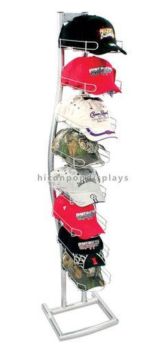Cap Hat Baseball Rack Floor Standing 4 Tier Rotating Display Holds 96 Sport
