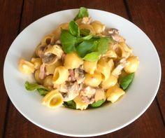 pasta met romige champignon en spekjessaus