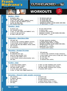 Frank Medrano Routine http://cutandjacked.com/sites/default/files/images/interviews_men/frank_medrano/Workout_frank_medrano1.pdf