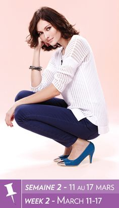 """Reitmans """"Pin It To Win It"""" Contest - Open stitch sweater, tank, coloured denim, cap toe pumps Pretty Outfits, Cool Outfits, Summer Outfits, Fashion Outfits, Womens Fashion, Pretty Clothes, Camisole, Classic Outfits, Pumps"""