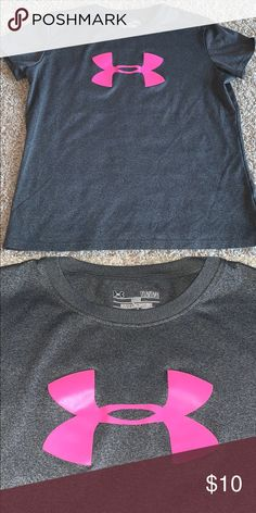 Under armour gray t-shirt pink logo Fits more like a youth medium Excellent  condition b6af55f2758b3