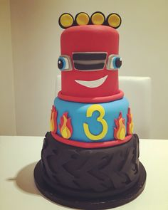 Blaze and the monster machines themed cake 4th Birthday, Birthday Ideas, Birthday Cake, Blaze Cakes, Themed Cakes, Middle, Party Ideas, Desserts, Kids