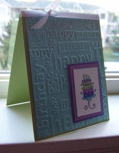 Cuttlebug birthday embossing folder with birthday stamp