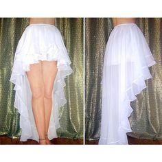 Ameynra High Low Skirt Ruffle Chiffon Asymmetrical Full Set All Sizes & Colors Chiffon Ruffle, White Chiffon, Chiffon Skirt, Lace Skirt, White Maxi, Ruffles, Corset Costumes, Steampunk, High Low Skirt