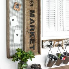 An antique soil sifter became the perfect framework for this cleverly themed grocery list magnetic board. Stencil source included.
