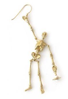 Skeleton earrings- too cute!