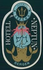 NEPTUN Hotel old luggage label BERGEN Norway Sea god trident