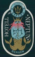 NEPTUN Hotel old luggage label BERGEN Norway Sea god trident