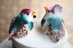 happy love birds wedding cake topper in aqua orange and raspberry from ...