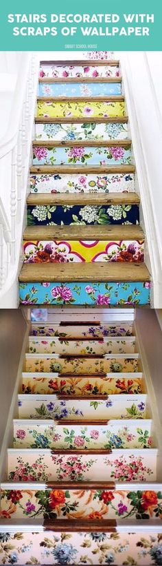 Wood Pallet Beds and Gorgeous Wood Ideas Wooden stairs decorated with scraps of wallpaper. Stair Decor, Diy Wood Projects, Diy Wallpaper, Bed Stairs, Stairs Design Interior, Wood Pallets, Pallet Beds, Flooring For Stairs, Wood Pallet Beds