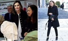 Back in black! Queen Letizia is stylish in a coat and trousers