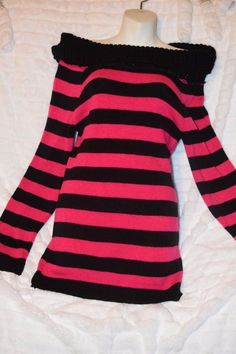 NWT Hot Pink & Black Striped Off The Shoulder Sweater Tunic Small #Chesley #Tunic