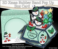 3D Xmas Snowmen Rubber Band Pop Up Box Card on Craftsuprint designed by Carol Clarke - **NEW CHRISTMAS Template**7 sheets in the kitRubber Band Operated Pop Up Card2 piece matching envelope2 coordinating backing papersGreetings3D decoupageSwing TagA fabulous Christmas card that pops up as soon as it's taken out of it's matching envelope. The rubber band hidden inside the card instantly transforms your lovely design into a box as if by magic! The card easily folds flat to fit into it's ...